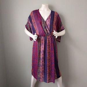 Vtg Striped Print Kimono Sleeve V Neck Dress S M